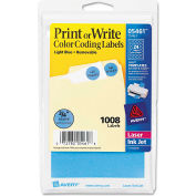 "Avery® Print or Write Removable Color-Coding Labels, 3/4"" Dia, Light Blue, 1008/Pack"