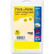 "Avery® Print or Write Removable Color-Coding Labels, 3/4"" Dia, Yellow, 1008/Pack"