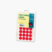 "Avery® Print or Write Removable Color-Coding Labels, 3/4"" Dia, Red, 1008/Pack"