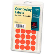 """Avery® Print or Write Removable Color-Coding Labels, 3/4"""" Dia, Neon Red, 1008/Pack"""