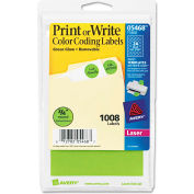 """Avery® Print or Write Removable Color-Coding Labels, 3/4"""" Dia, Neon Green, 1008/Pack"""