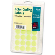 "Avery® Print or Write Removable Color-Coding Labels, 3/4"" Dia, Neon Yellow, 1008/Pack"