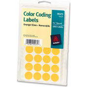 """Avery® Print or Write Removable Color-Coding Labels, 3/4"""" Dia, Neon Orange, 1008/Pack"""