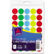 "Avery® See-Through Removable Color Dots, 3/4"" dia, Assorted Colors, 1015/Pack"