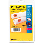 "Avery® Print or Write Removable Color-Coding Labels, 1-1/4"" Dia, Neon Orange, 400/Pack"