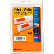 Avery® Print or Write Removable Color-Coding Laser Labels, 1 x 3, Neon Orange, 200/Pack