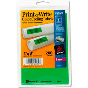 Avery® Print or Write Removable Color-Coding Laser Labels, 1 x 3, Neon Green, 200/Pack