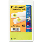 "Avery® Print or Write Removable Color-Coding Labels, 1-1/4"" Dia, Neon Yellow, 400/Pack"