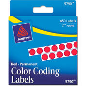 """Avery® Permanent Self-Adhesive Color-Coding Labels, 1/4"""" Dia, Red, 450/Pack"""