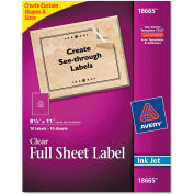 Avery® Easy Peel Mailing Labels For Inkjet Printers, 8-1/2 x 11, Clear, 10/Pack