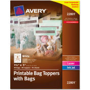 Avery® Printable Bag Toppers with Bags, 1-3/4 x 5, White, 40/Pack