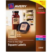 Avery® Square Print-to-the-Edge Labels w/TrueBlock, 2 x 2, Kraft Brown, 300/Pack