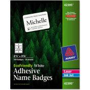 "Avery® EcoFriendly Name Badge Labels, 2-1/3"" x 3-3/8, White, 160/Box"