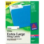 Avery® Extra-Large 1/3-Cut File Folder Labels, 15/16 x 3-7/16, White, 450/Pk