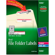 Avery® Self-Adhesive Laser/Inkjet File Folder Labels, White, Red Border, 1500/Box