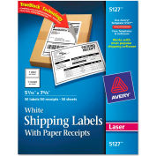 Avery® Shipping Labels with Paper Receipt, 5 1/16 x 7 5/8, White, 50/Pack