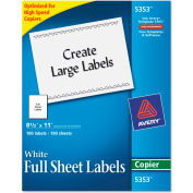 Avery® Self-Adhesive Full-Sheet Shipping Labels for Copiers, 8-1/2 x 11, White, 100/Box