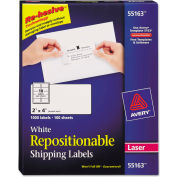 Avery® Repositionable Shipping Labels for Laser Printers, 2 x 4, White, 1000/Box