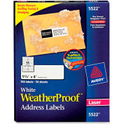 Avery® White Weatherproof Laser Shipping Labels, 1-1/3 x 4, 700/Pack