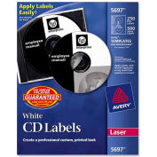 Avery 5697 Laser CD/DVD Labels, Matte White, 250/Pack