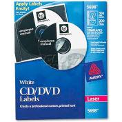 Avery 5698 Laser CD/DVD Labels, Matte White, 100/Pack