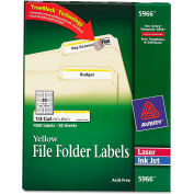 Avery® Self-Adhesive Laser/Inkjet File Folder Labels, Yellow Border, 1500/Box