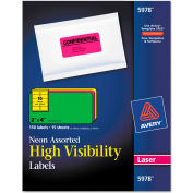 Avery® High-Visibility Laser Labels, 2 x 4, Assorted Neons, 150/Pack