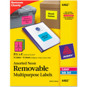 Avery® Removable Self-Adhesive Multipurpose Labels, 3-1/3 x 4, Assorted Neon, 72/Pack
