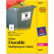 Avery® Permanent Durable ID Laser Labels, 8-1/2 x 11, White, 50/Pack