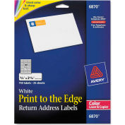 Avery® Return Address Labels for Color Laser & Copier, 3/4 x 2-1/4, Matte White, 750/PK