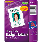"Avery® Secure Top Heavy-Duty Badge Holders, Vertical, 3"" x 4"", Clear, 25/Pack"
