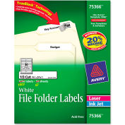 Avery® Permanent Self-Adhesive Laser/Inkjet File Folder Labels, 3-7/16x2/3, WE, 1800/Box