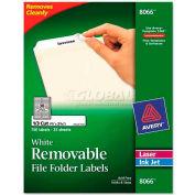 Avery® Removable Inkjet/Laser Filing Labels, 2/3 x 3-7/16, White, 750/Pack