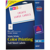 Avery® Inkjet Labels for Color Printing, 8-1/2 x 11, Matte White, 20/Pack