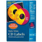 Avery 8691 Inkjet CD/DVD Labels, Matte White, 100/Pack