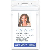 "Advantus® Resealable ID Badge Holder, Vertical, 2-5/8"" x 3-3/4"", Clear, 50/Pack"
