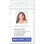 "Advantus® PVC-Free Badge Holders, Vertical, 3"" x 4"", Clear, 50/Pack"