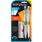 BIC® Velocity Max Pencil, 0.9 mm, HB (#2), Black Lead, Assorted Barrel Colors, 2/Pack