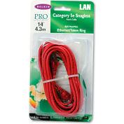 Belkin® CAT5e 10/100 Base-T RJ45 Patch Cable, Snagless, 14 ft., Red