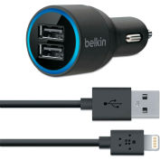 Belkin® Dual Car Charger, Two 2.1 Amp Ports, Detachable Lightning Cable