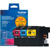 Brother® LC1053PKS, LC-105, Innobella Super High-Yld Ink, 1200 Pg-Yld, CMY, 3/Pk