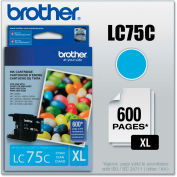 Brother® LC75C (LC-75C) Innobella High-Yield Ink, 600 Page-Yield, Cyan