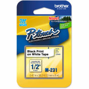 """Brother® P-Touch® M Series Tape Cartridge, 1/2""""W, Black on White"""