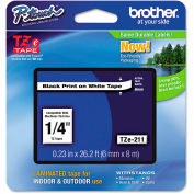 "Brother® P-Touch® TZe Labeling Tape, 1/4""W, Black on White"