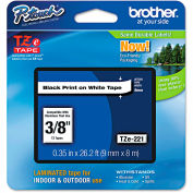 "Brother® P-Touch® TZe Labeling Tape, 3/8""W, Black on White"