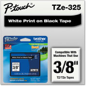 """Brother® P-Touch® TZe Labeling Tape, 3/8""""W, White on Black"""