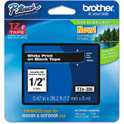 "Brother® P-Touch® TZe Labeling Tape, 1/2""W, White on Black"