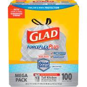Glad® ForceFlex Tall Kitchen Drawstring Trash Bags - White, 13 Gal, 0.9 Mil, 100/Box - 70427