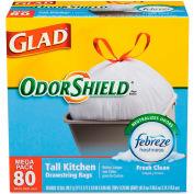 Glad® OdorShield Tall Kitchen Drawstring Bag Fresh 13 Gal 0.78 Mil Wh 80 Bag/BX 4/CS-CLO78534CT