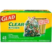 Glad® Recycling Tall Kitchen Drawstring Trash Bag 13 Gallon 0.90 Mil, Clear 45 Bag/Box-CLO78543